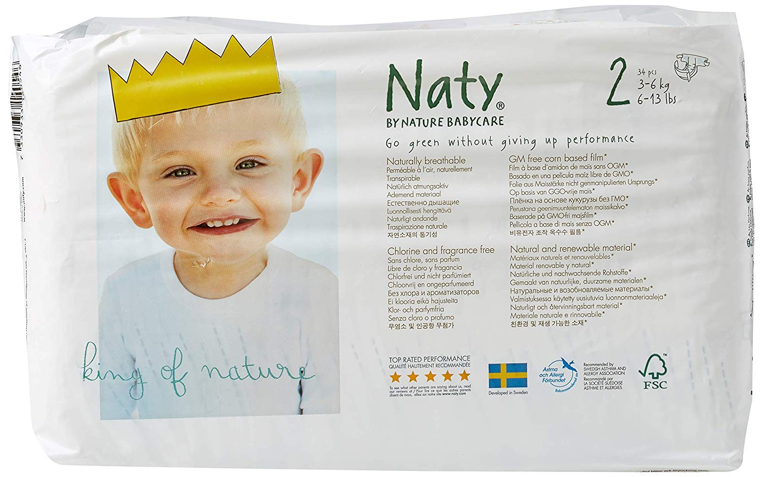 NATY-ECO BY NATY: Diapers Size 2 12-18 lbs, 34 pc