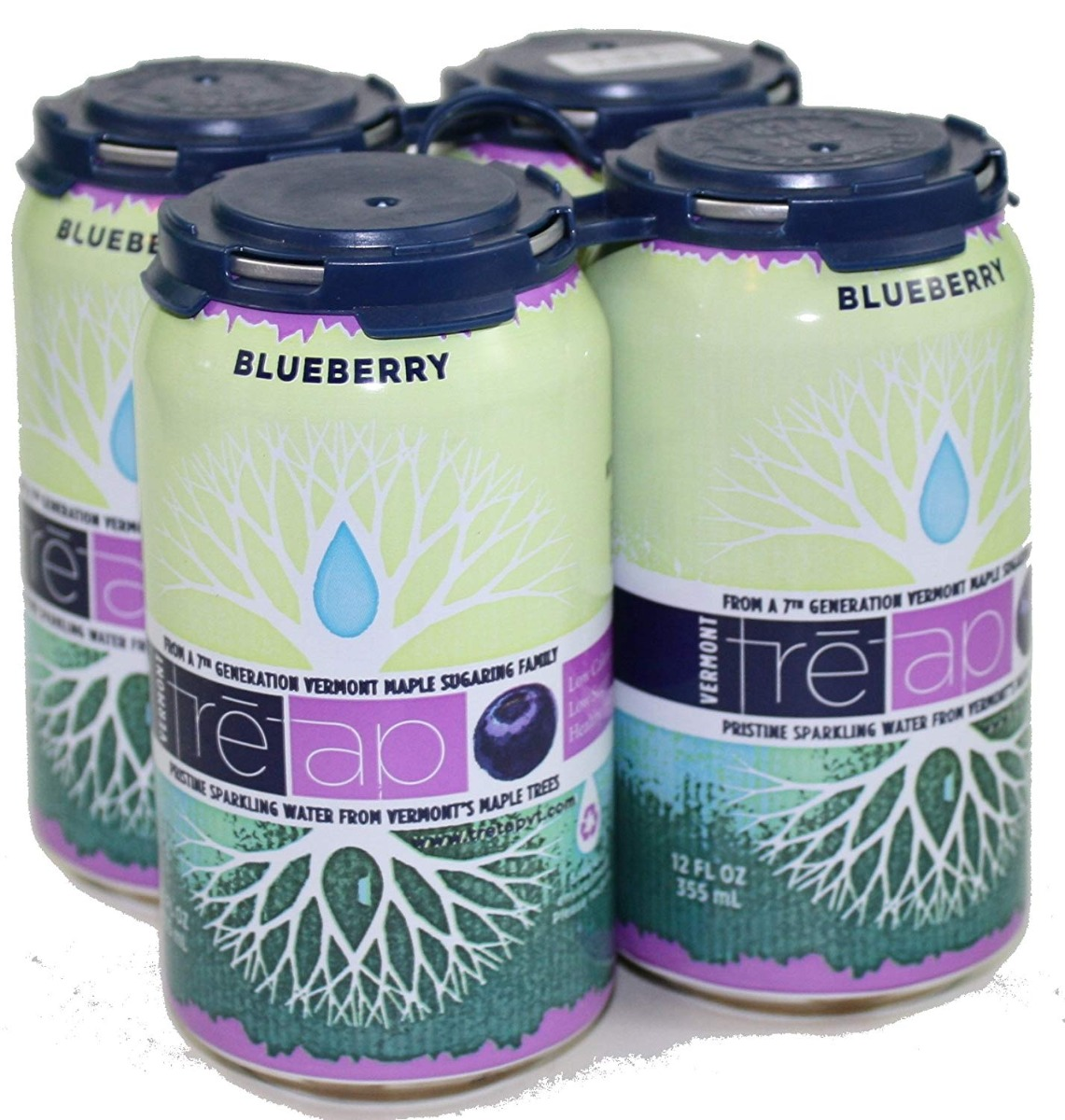TRETAP: Blueberry Sparkling Water 4 Pack, 48 fl oz