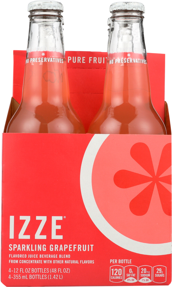 IZZE BEVERAGE: Sparkling Grapefruit  Juice 4 count (12 oz each), 48 oz