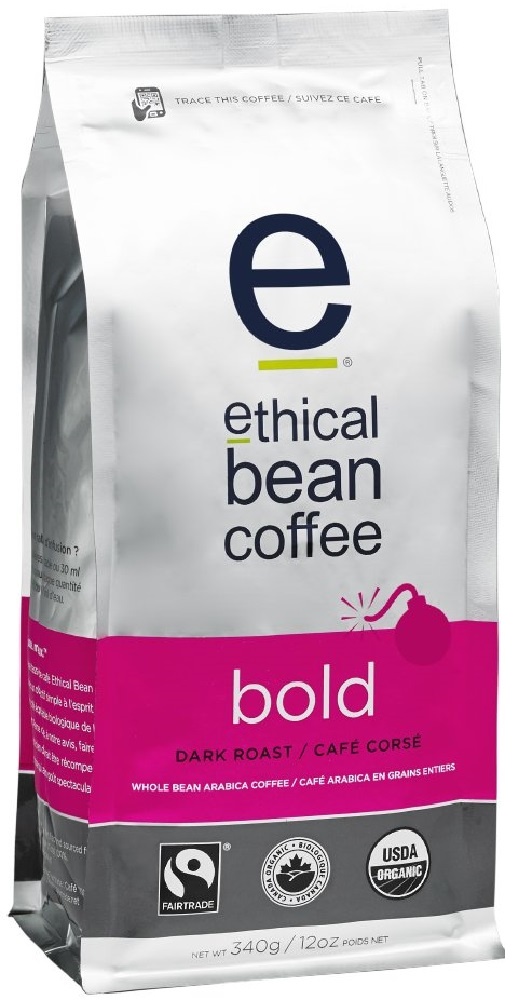 ETHICAL BEAN: Coffee Dark Roast Bold Whole, 12 oz