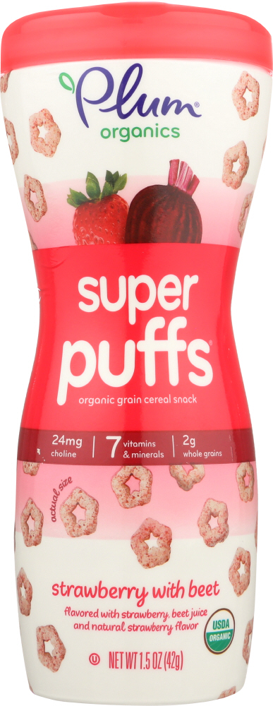 PLUM ORGANICS: Super Puffs Organic Veggie Fruit & Grain  Strawberry & Beet, 1.5 oz