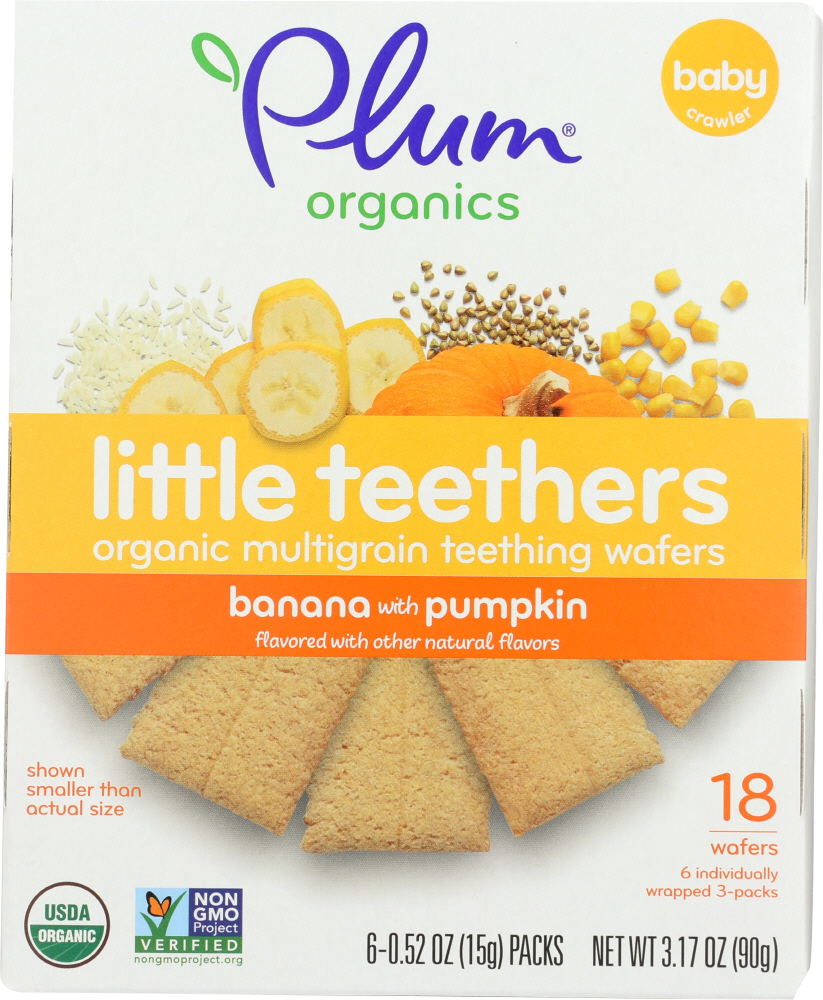 PLUM ORGANICS: Little Yums Organic Teething Wafers Pumpkin & Banana 6 packs, 3 oz