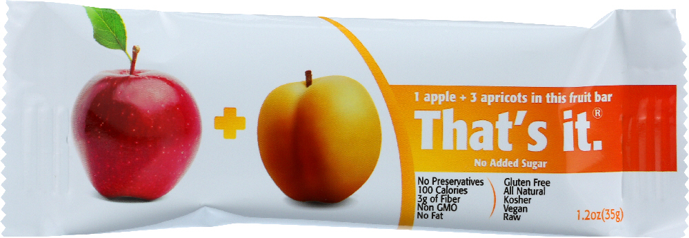 THAT'S IT: Apple And Appricot Nutrition Bar, No Sugar Added, 1.2 oz