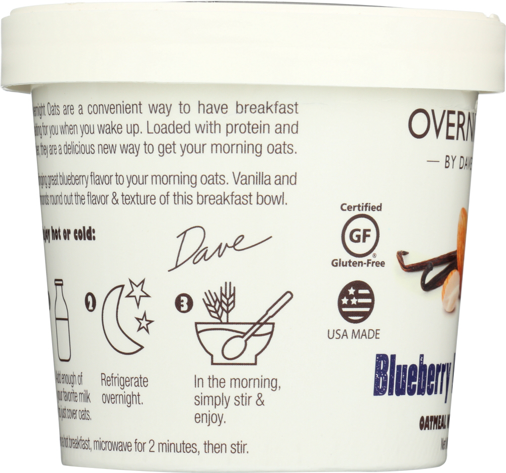DAVES GOURMET: Oats in Cup Blueberry Vanilla Almond, 2.1 oz