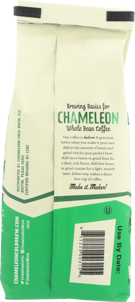 CHAMELEON COLD BREW: Whole Bean Organic Coffee Chocolatey and Earthy Dark Black and Bold, 12 oz