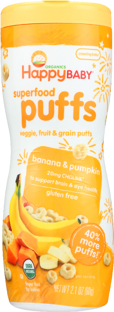 HAPPY BABY: Organic Puffs Banana & Pumpkin, 2.1 oz