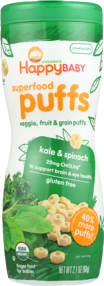 HAPPY BABY: Organic Puffs Kale & Spinach, 2.1 oz
