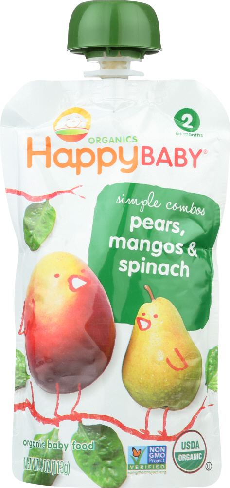 HAPPY BABY: Organic Baby Food Stage 2 Spinach Mangos & Pears 6+ Months, 3.5 oz