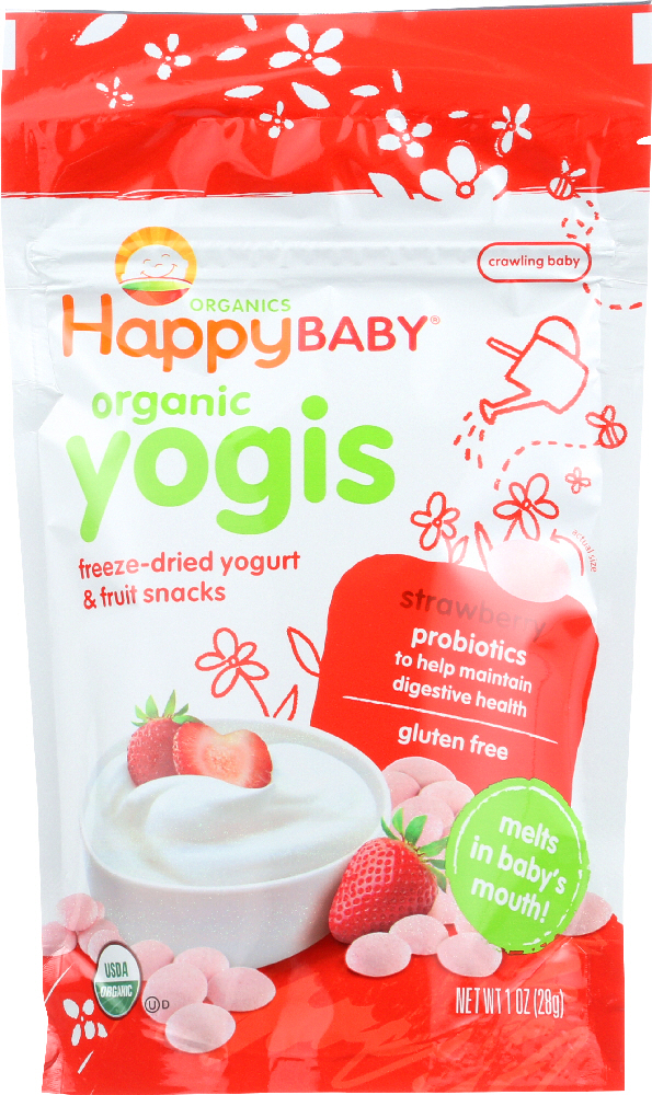HAPPY BABY: Organic Yogis Yogurt and Fruit Snacks Strawberry, 1 oz