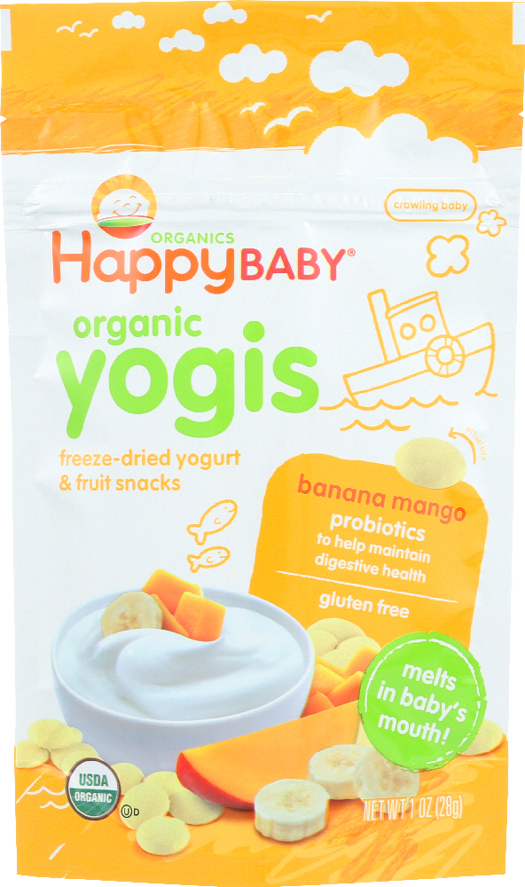 HAPPY BABY: Organic  Yogis Yogurt and Fruit Snacks Banana Mango, 1 oz