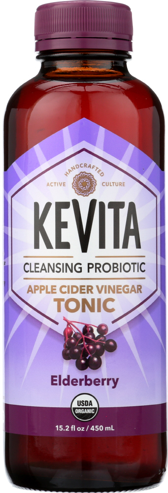 KEVITA: Organic Cleansing Probiotic Apple Cider Vinegar Tonic Elderberry, 15.2 oz