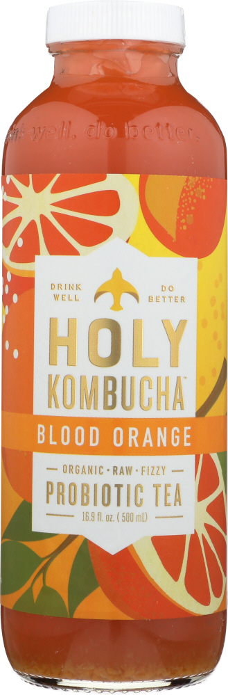 HOLY KOMBUCHA: Blood Orange Raw Fizzy Probiotic Tea, 16.9 oz