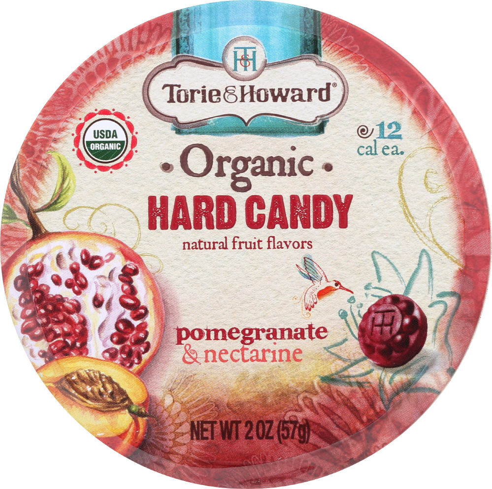 TORIE & HOWARD: Organic Hard Candy Pomegrante and Nectarine, 2 oz