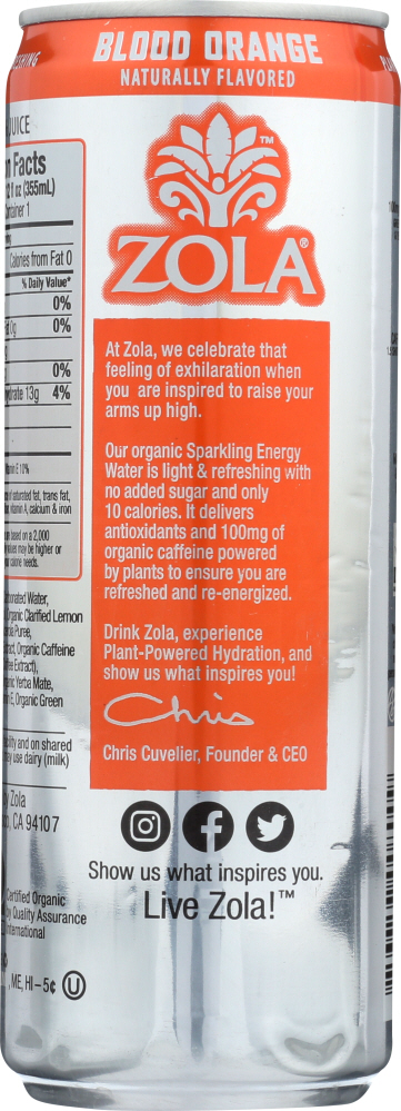 ZOLA: Beverage Energy Blood Orange, 12 fo