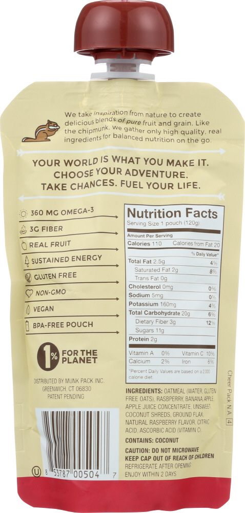 MUNK PACK: Oatmeal Fruit Squeeze Raspberry Coconut, 4.2 oz