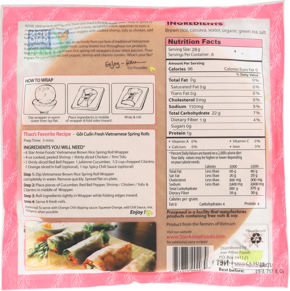 STAR ANISE FOODS: Vietnamese Brown Rice Spring Roll Wrapper, 8 Oz