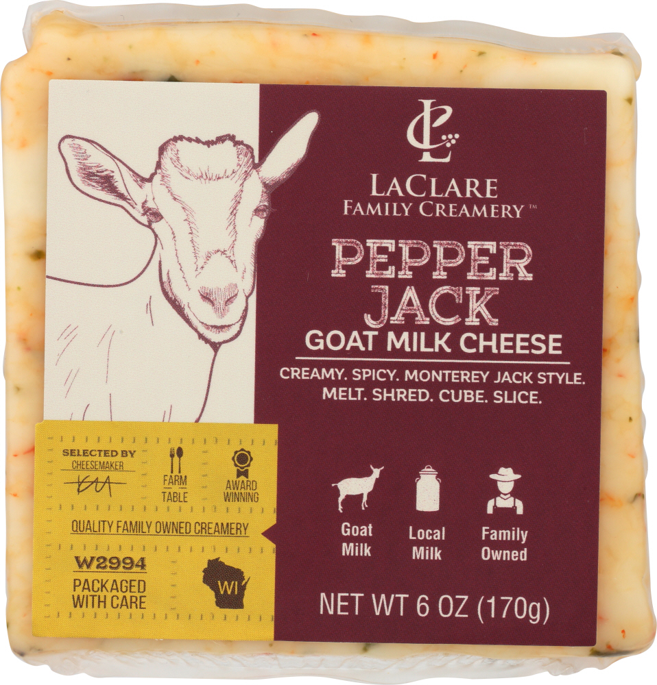 LACLARE FARMS: Cheese Goat Pepper Jack, 6 oz