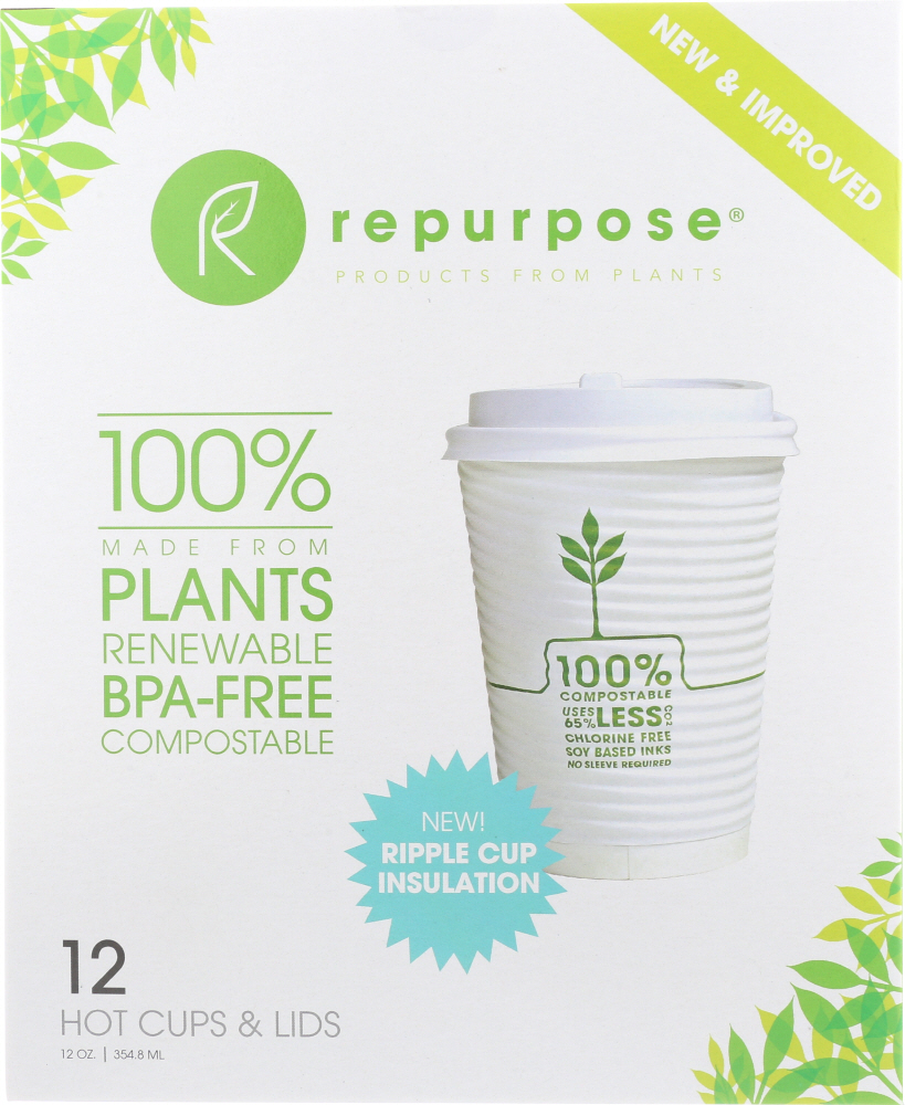 REPURPOSE: Plant Based Insulated Hot Cups and Lids 12 oz, 12 ct