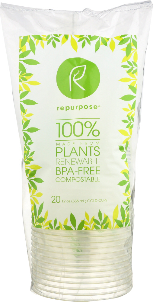 REPURPOSE: Plant Based Clear Cold Cups 12 oz, 20 pc