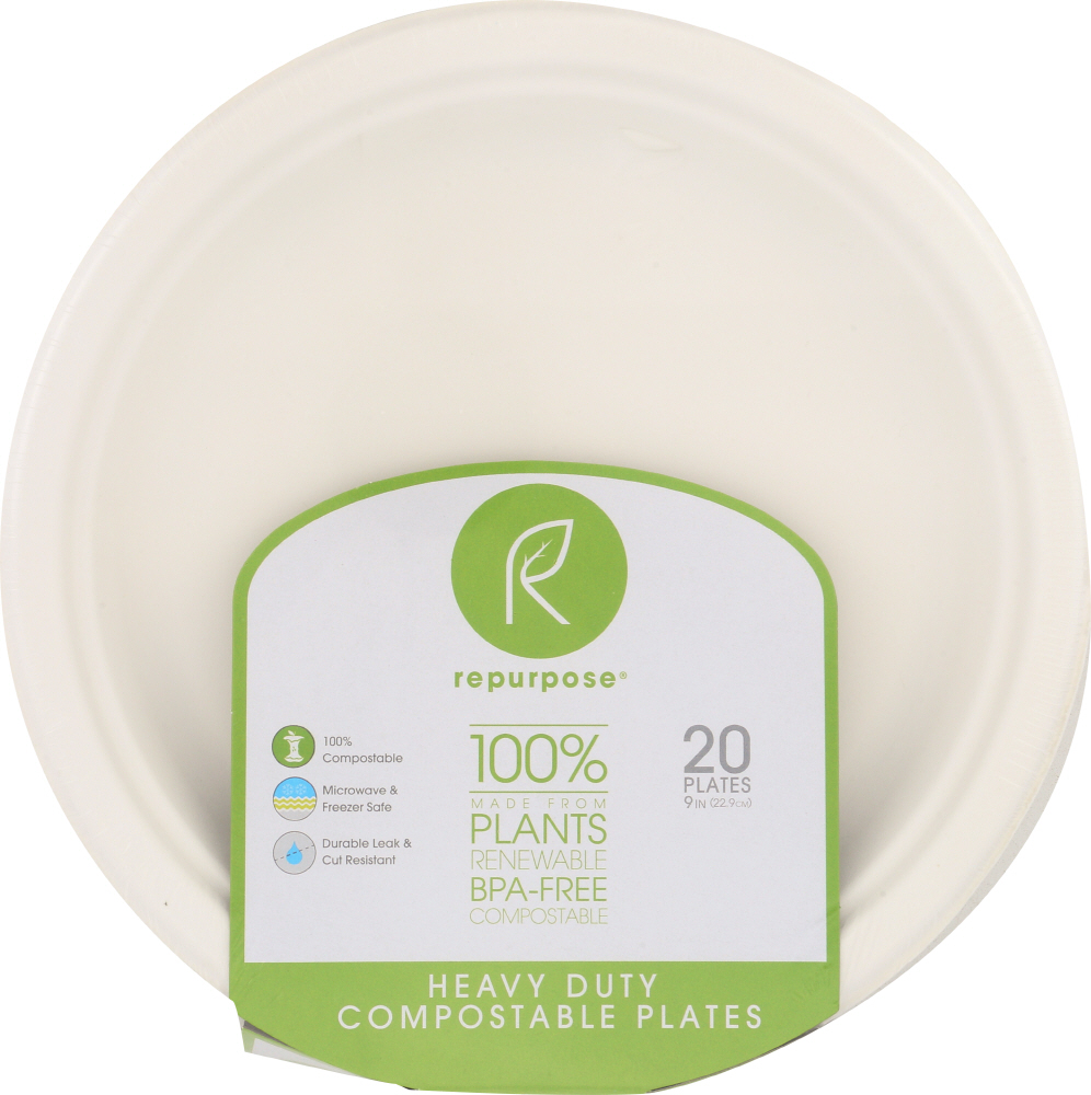 REPURPOSE: Compostable 9 Inch Plates, 20 count