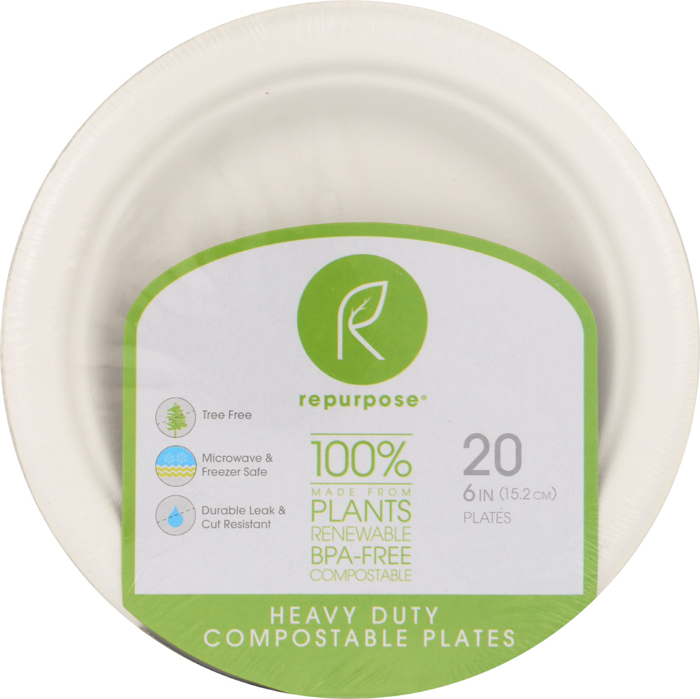 REPURPOSE: Plant Based Heavy Duty Plates 6in, 20 pc