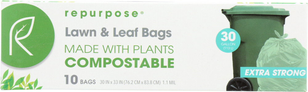 REPURPOSE: Compostable Extra Strong Lawn & Leaf Bags 30gal, 10 ea