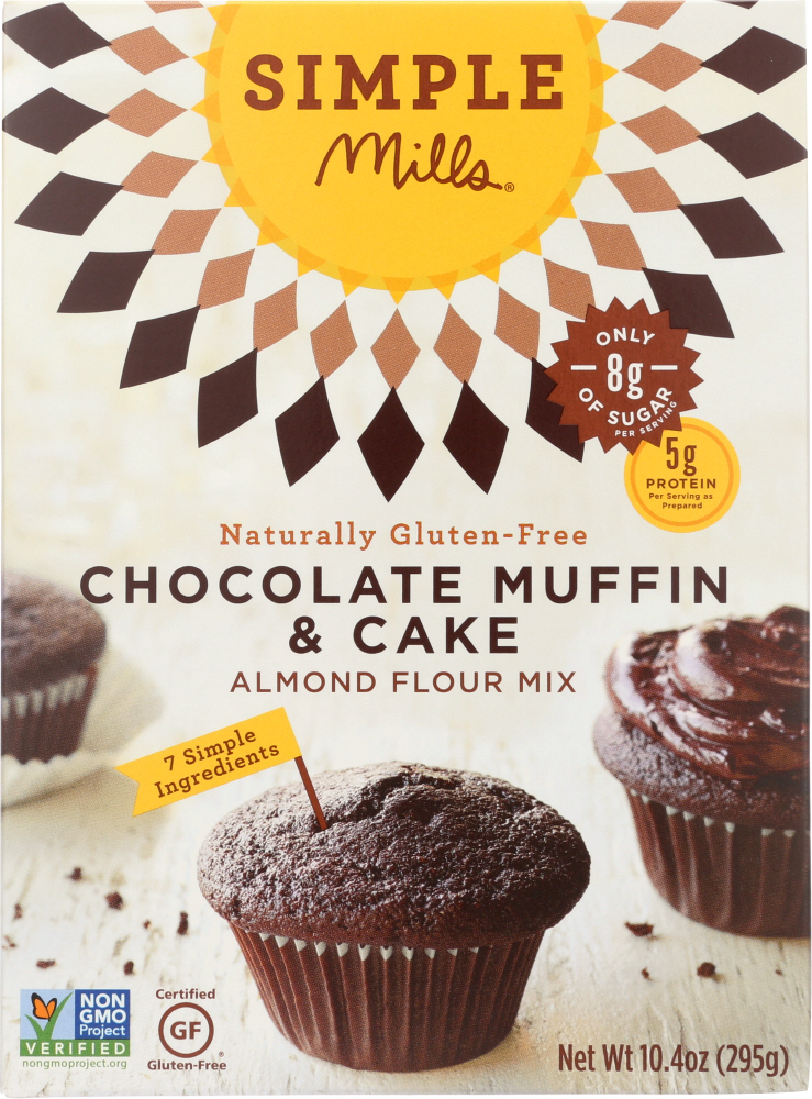 SIMPLE MILLS: Gluten Free Chocolate Muffin and Cake Almond Flour Mix, 10.4 oz