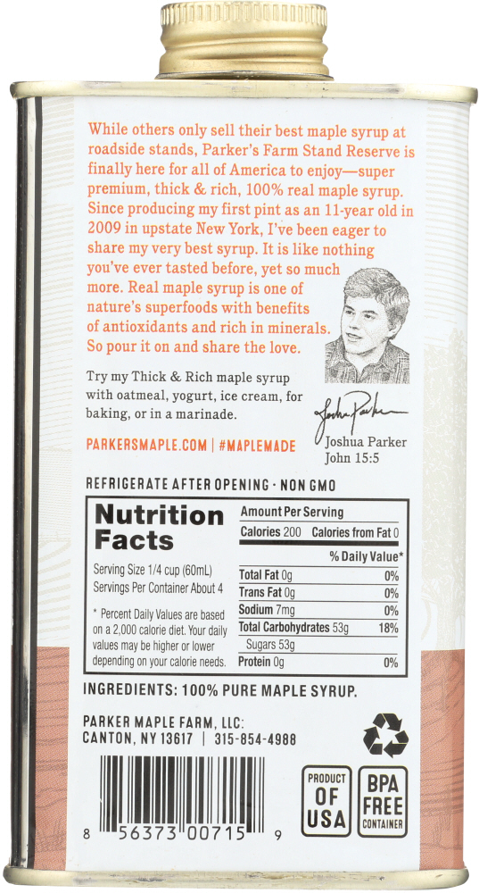 PARKERS REAL MAPLE: Syrup Maple Dark Traditional, 8 fo