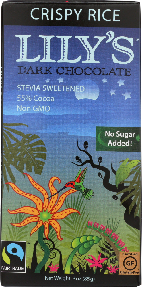 LILY'S: Dark Chocolate with Stevia Crispy Rice, 3 oz