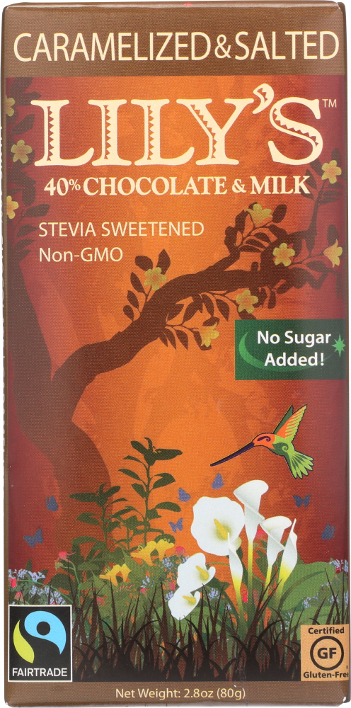 LILYS SWEETS: Carmelized and Salted Milk Bar Stevia, 2.8 oz