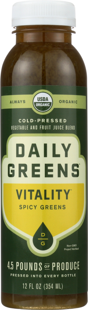 DRINK DAILY GREENS: Vitality Spicy Greens Cold Pressed Juice Blend, 12 oz
