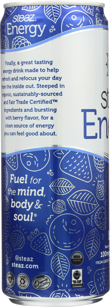 STEAZ: Green Tea Soda Organic Energy Drink Berry, 12 oz