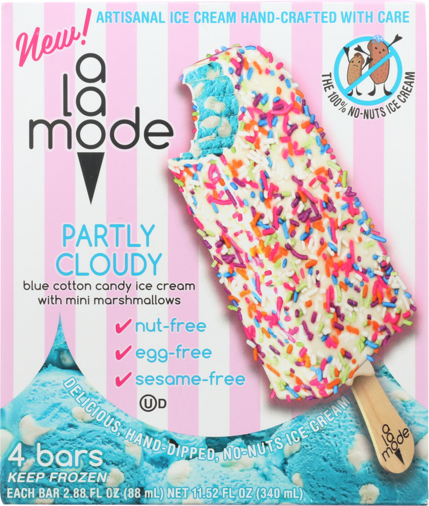 A LA MODE: Partly Cloudy Ice Cream Bar Blue Cotton Candy, 8.8 oz