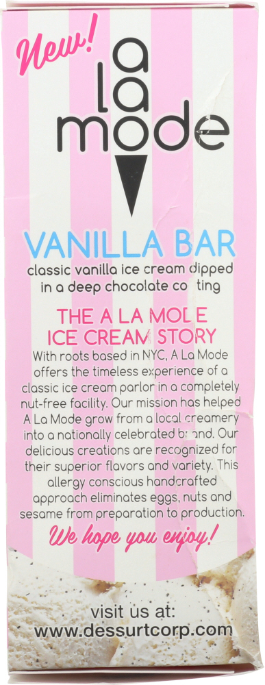 A LA MODE: Vanilla Ice Cream Bar, 8.8 oz