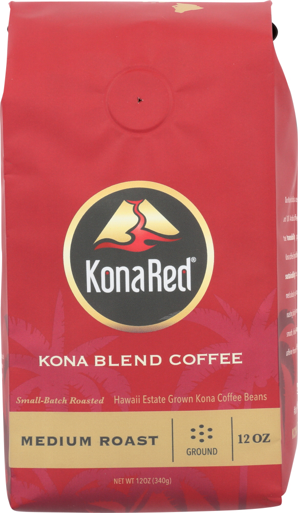 KONA RED: Kona Blend Medium Roast Ground Coffee, 12 oz