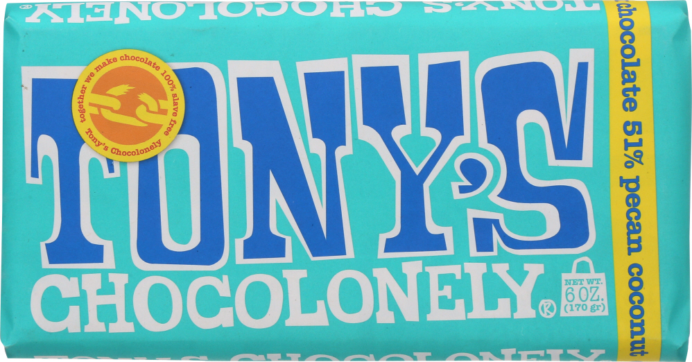 TONYS CHOCOLONEY: Chocolate Dark Pecan Coconut Bar 51%, 6 oz