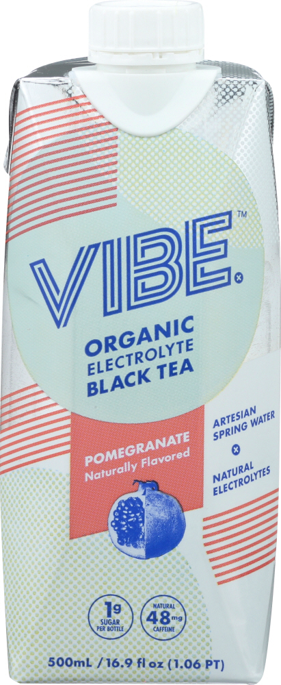 VIBE X: Ready to Drink Organic Electrolyte Black Tea Pomegranate, 500 ml