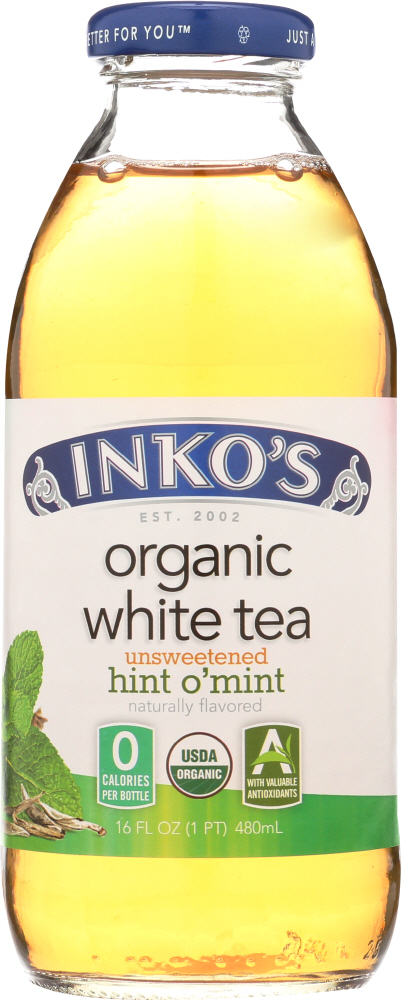 INKOS:  White Tea Organic Unsweetened Hint O'Mint, 16 oz