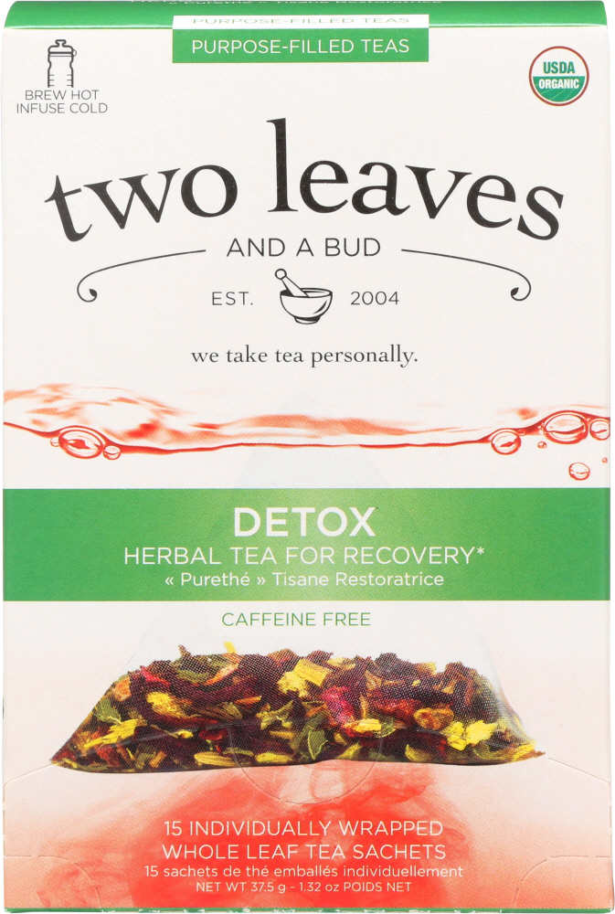 TWO LEAVES & A BUD: Organic Detox Herbal Tea for Recovery, 15 bg