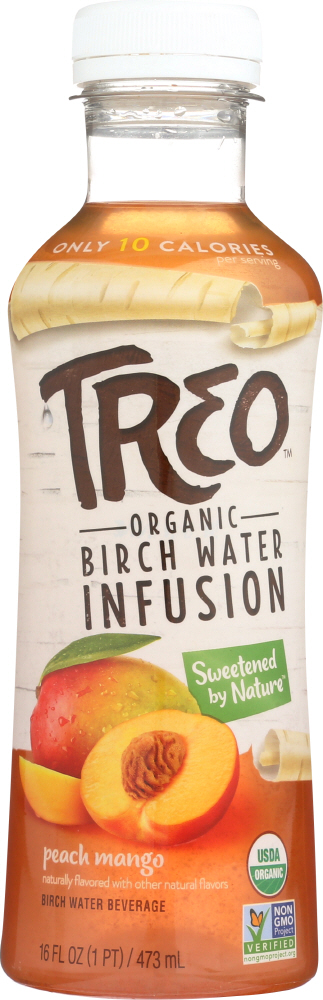 TREO: Organic Birch Water Infusion Peach Mango, 16 oz