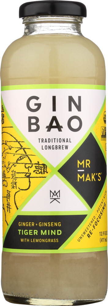 MR MAKS GINBAO: Ginger & Ginseng Tiger Mind with Lemongrass, 13.9 fo