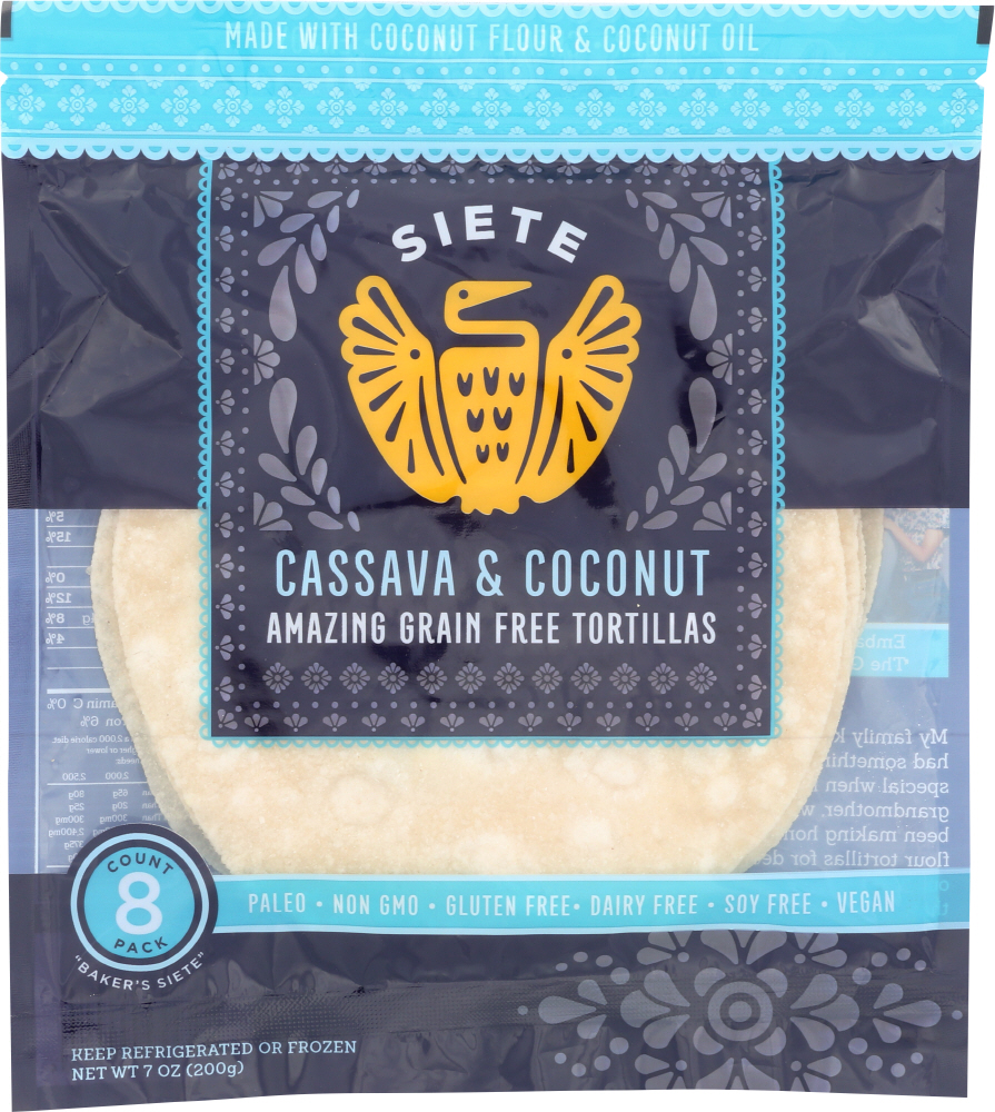 SIETE: Cassava & Coconut Flour Tortillas 8 Piece, 7 oz