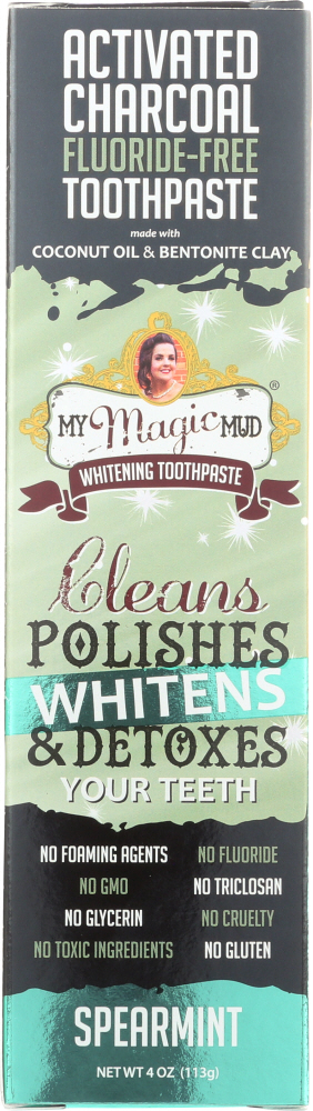 MY MAGIC MUD: Toothpaste Charcoal Spearmint, 4 oz