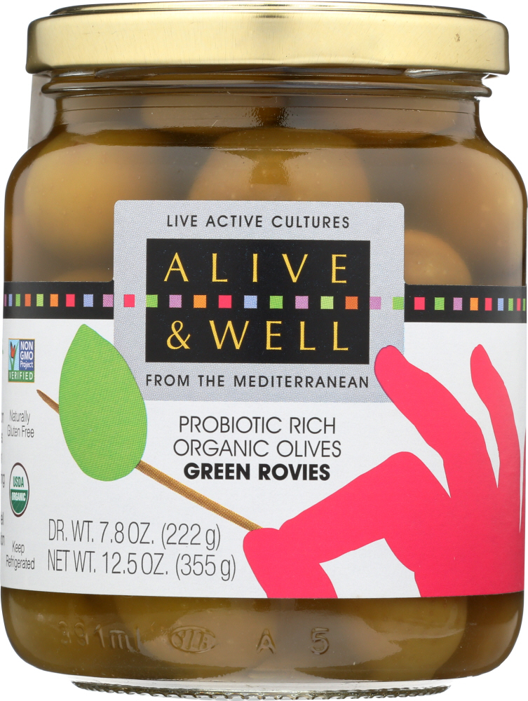 ALIVE & WELL: Olives Green Rovie Organic, 12.5 oz