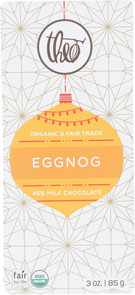 THEO CHOCOLATE: Egg Nog White Chocolate Bar, 3 oz