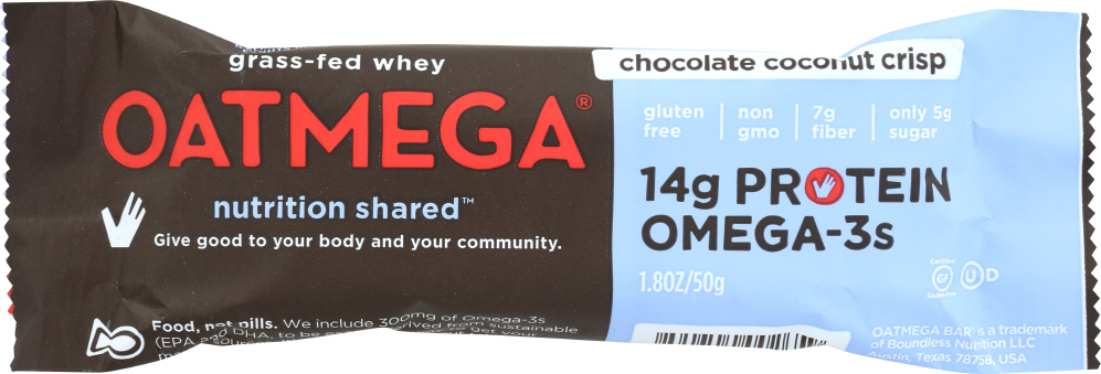 OATMEGA: Chocolate Coconut Crisp Bar, 50 gm