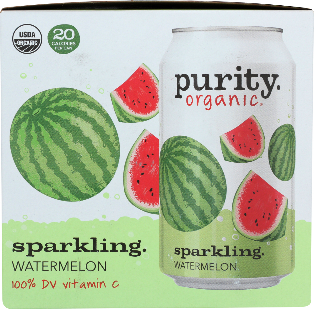 PURITY ORGANIC: Sparkling Water Watermelon 4 Pack, 48 fo