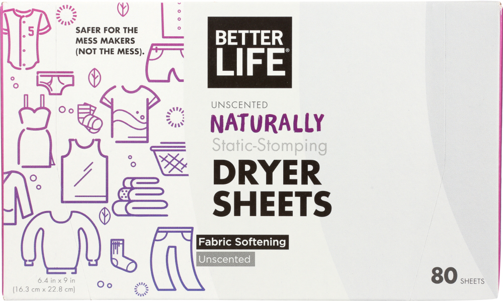 BETTER LIFE: Naturally Static Stomping Unscented Dryer Sheets, 80 pc