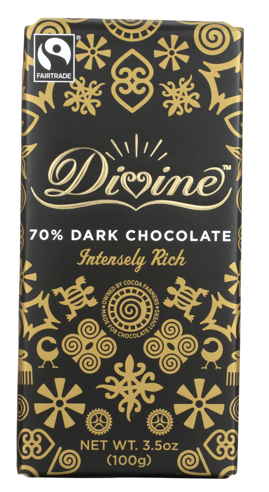 DIVINE CHOCOLATE: Chocolate Bar Dark 70%, 3.5 oz