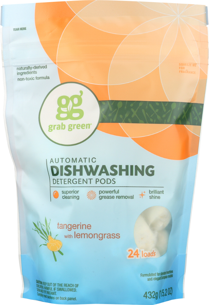 GRAB GREEN: Automatic Dishwashing Detergent Tangerine with Lemongrass, 15.2 oz